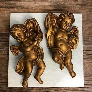 Vintage Homco Golden Cherub Angels #1120